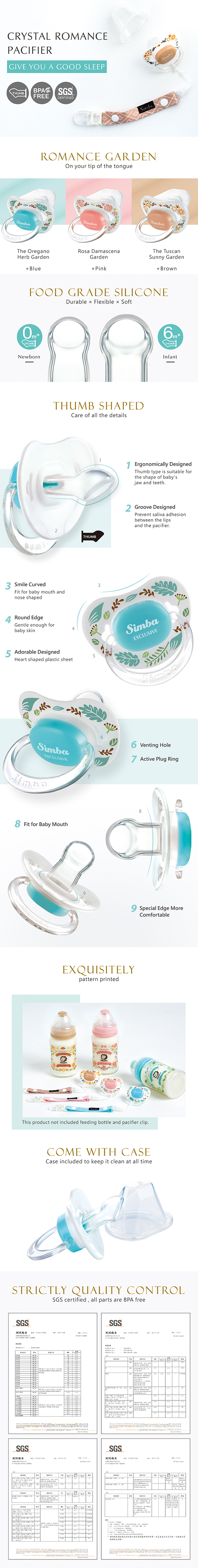 Simba Pacifier With Case Thumb Shaped Romance Pink 6months+